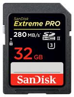 SanDisk SDHC Extreme PRO 32GB UHS-II (U3) - R: 280 MB/s, W: 250 MB/s