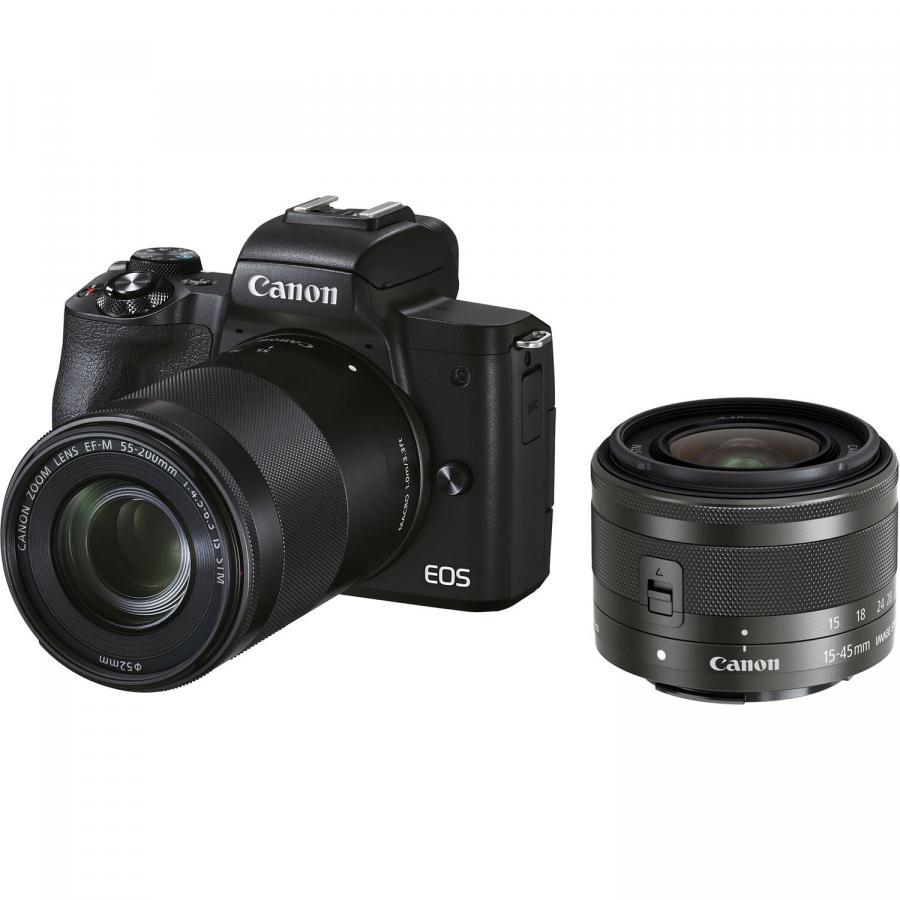 Canon EOS M50 Mark II + EF-M 15-45mm IS STM + EF-M 55-200mm IS STM + Cashback 30 €