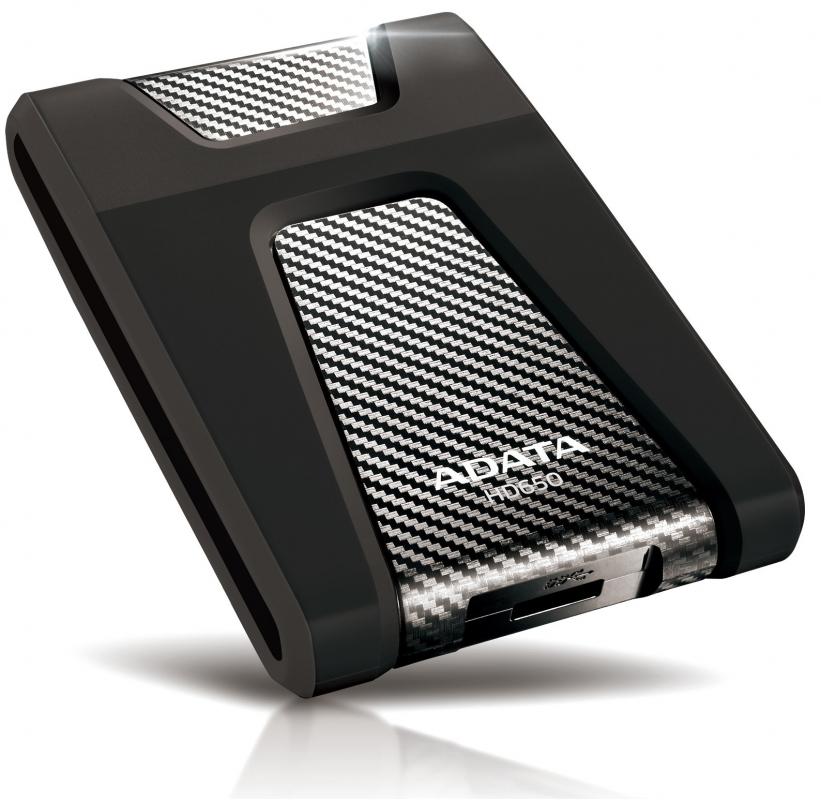 """ADATA Externý HDD 1TB 2,5"""" USB 3.1 DashDrive DurableHD650, čierny (gumový, nárazu odolný)"""