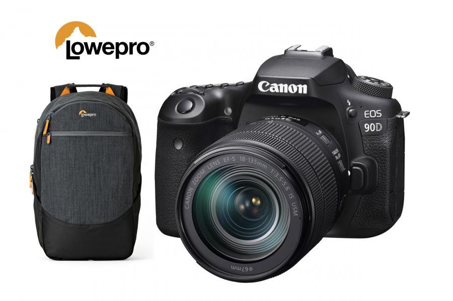 Canon EOS 90D + EF-S 18-135mm f/3,5-5,6 IS USM + batoh Lowepro zadarmo