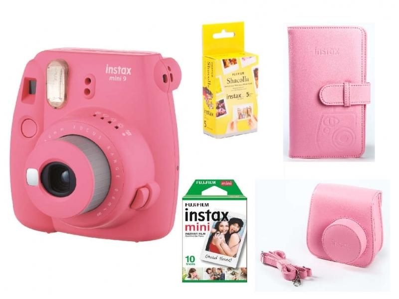 Fujifilm Instax Mini 9 BOX, ružový+ puzdro+ ALBUM + 10ks film + Samolepiace podložky