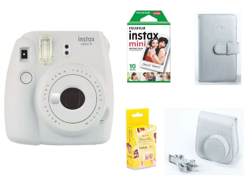 Fujifilm Instax Mini 9 BOX, biely+ puzdro+ ALBUM + 10ks film + Samolepiace podložky