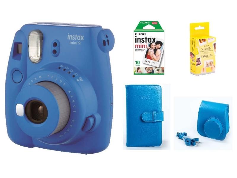 Fujifilm Instax Mini 9 BOX, modrý+ puzdro + ALBUM + 10ks film + Samolepiace podložky