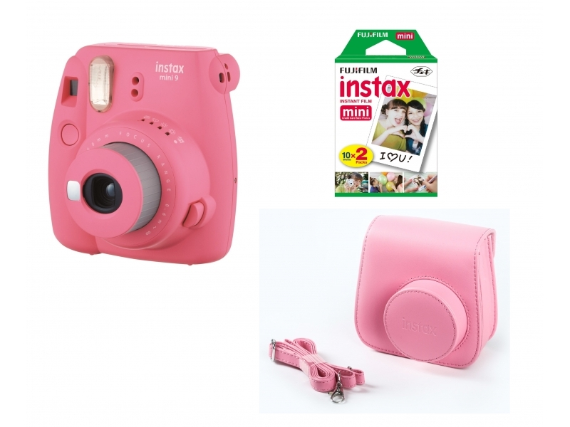 Fujifilm Instax Mini 9 BOX, ružový + 20 fotografií + puzdro