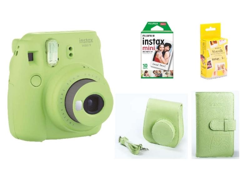 Fujifilm Instax Mini 9 BOX, zelený+ puzdro + ALBUM + 10ks film + Samolepiace podložky