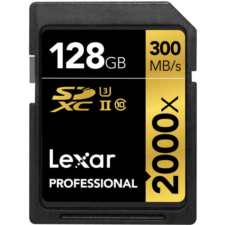 Lexar 128GB 2000X PROF. SDXC RDR UII 300MB/s
