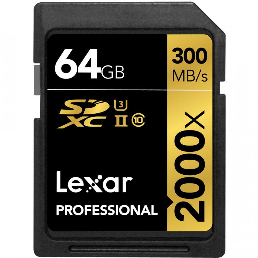 Lexar 64GB 2000X PROF. SDXC RDR UII 300MB/s
