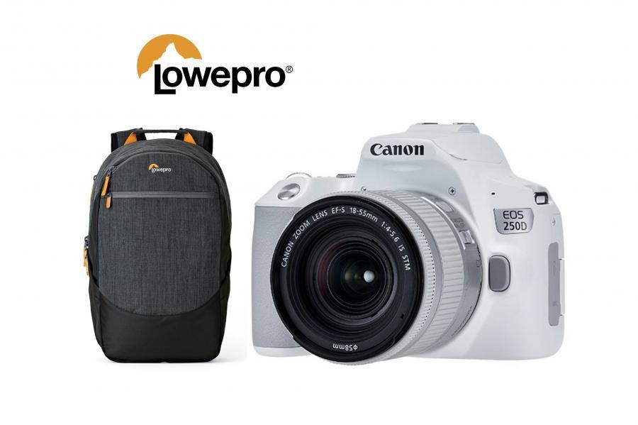 Canon EOS 250D + EF-S 18-55mm f/4-5,6 IS STM CP biele + batoh Lowepro zadarmo
