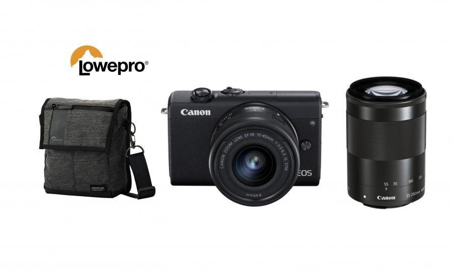Canon EOS M200 + EF-M 15-45mm F3.5-6.3 IS STM + EF-M 55-200mm f/4.5-6.3 IS STM Čierny kit