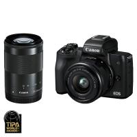 Canon EOS M50 + EF-M 15-45mm IS STM + EF-M 55-200mm IS STM, Čierny kit  CASHBACK 50 €