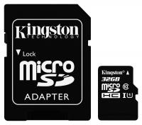 Kingston microSDHC 32GB Class 10 UHS-I U1 - R: 45MB/s, W: 10MB/s + Adaptér