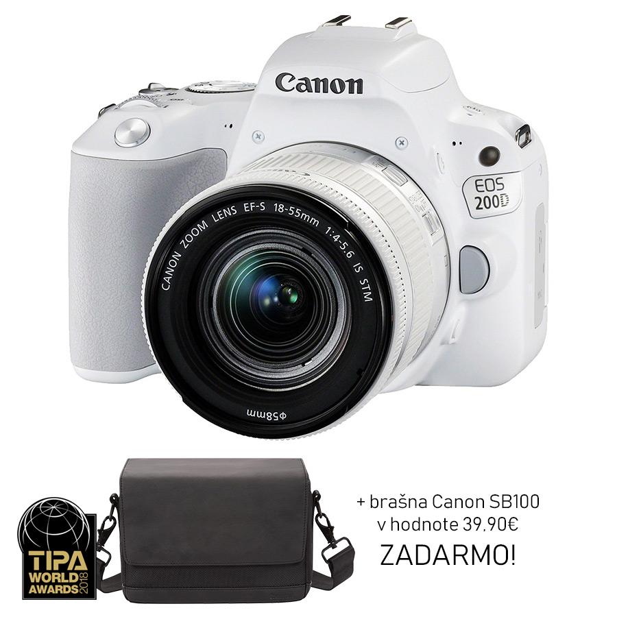 Canon EOS 200D + EF-S 18-55mm f/4-5.6 IS STM, Biely + brašna ZADARMO