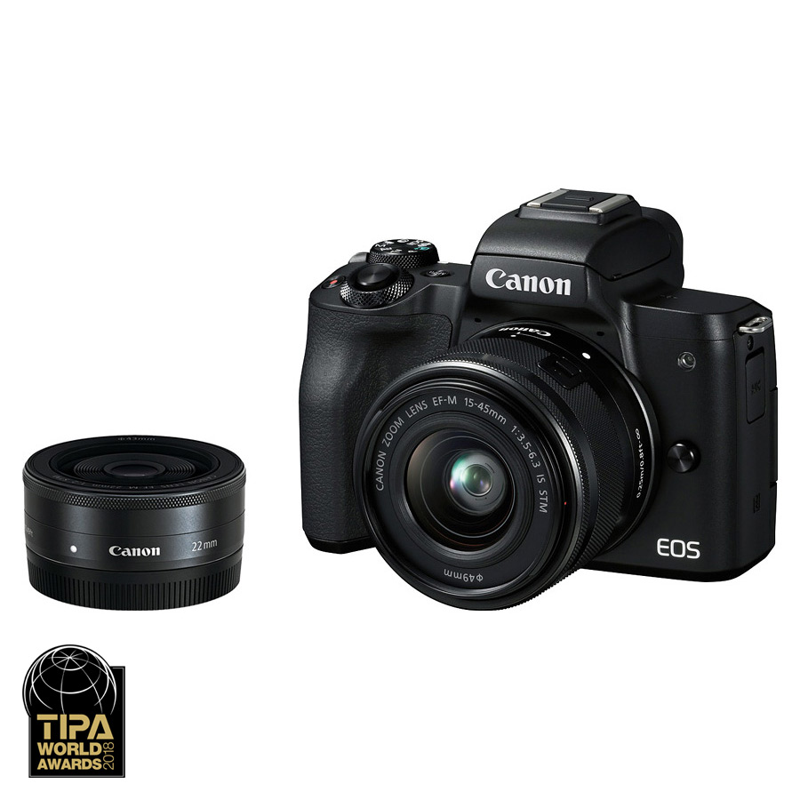 Canon EOS M50 + EF-M 15-45/3.5-6.3 IS STM + EF-M 22/2 STM, Čierny
