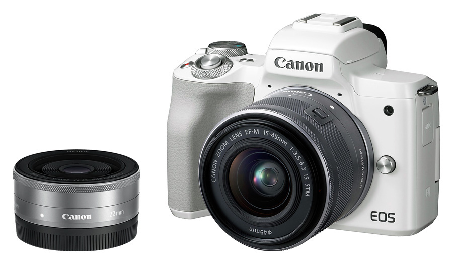 Canon EOS M50 + EF-M 15-45mm f/3.5-6.3 IS STM + EF-M 22mm f/2 STM,biely
