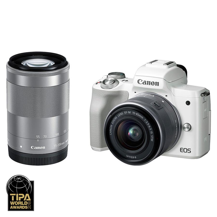 Canon EOS M50 + EF-M 15-45mm IS STM + EF-M 55-200mm IS STM, Biely kit