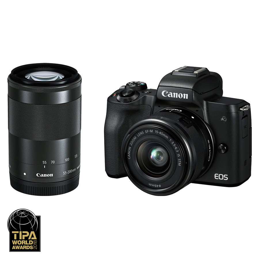Canon EOS M50 + EF-M 15-45mm IS STM + EF-M 55-200mm IS STM, Čierny kit + CASHBACK 30€