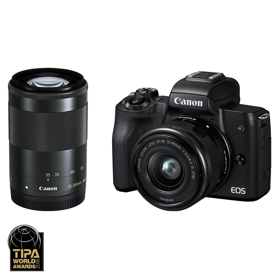 Canon EOS M50 + EF-M 15-45mm IS STM + EF-M 55-200mm IS STM, Čierny kit