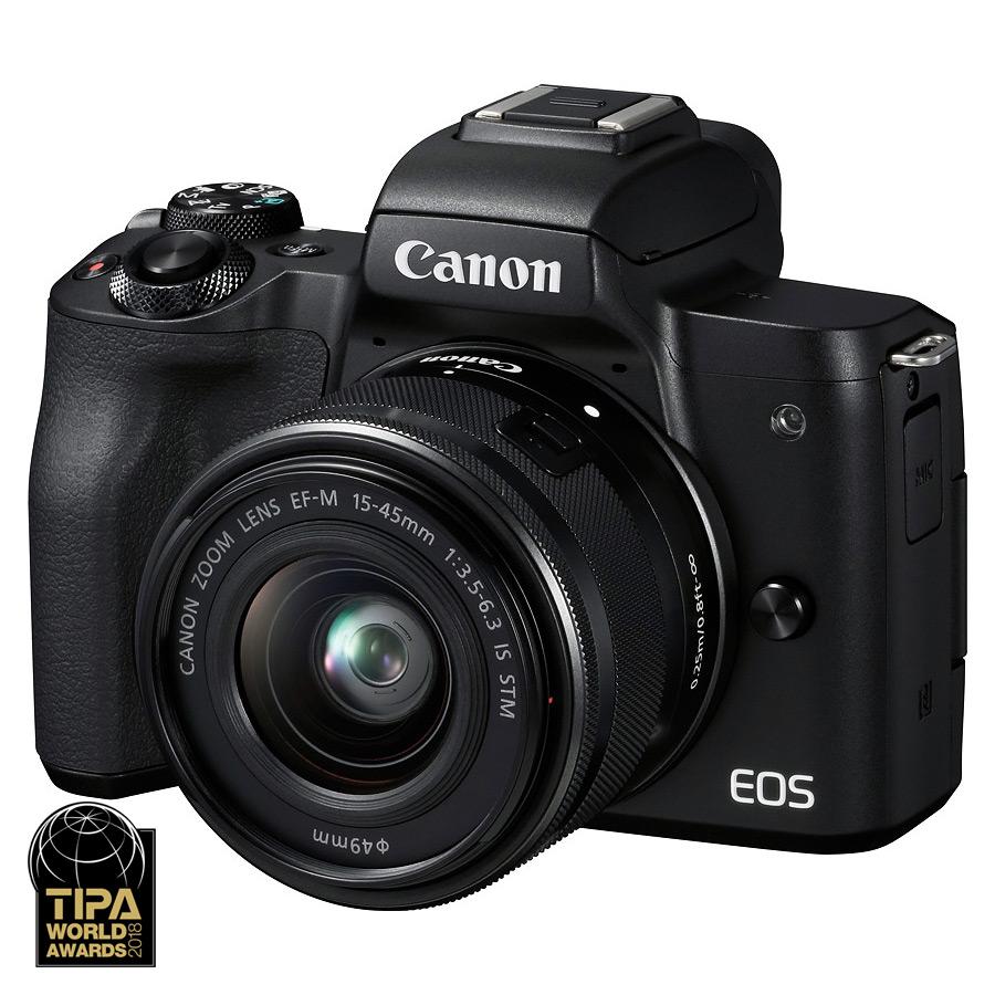 Canon EOS M50 + EF-M 15-45mm f/3.5-6.3 IS STM + brašna + 16GB karta, Čierny