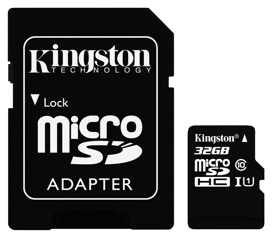 Kingston microSDHC 32GB Class 10 UHS-I U1 - R: 45MB/s, W: 10MB/s + Adaptér