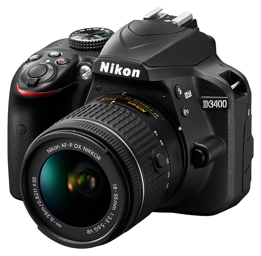 Nikon D3400 + AF-P DX 18-55mm f/3.5-5.6G ED VR + AF-P DX 70-300mm f/4.5-6.3G ED VR, Čierny