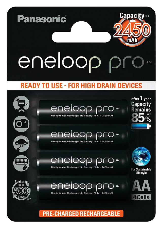 Panasonic Eneloop Pro 4xAA 2500mAh, Sada 4ks nabíjateľných batérií