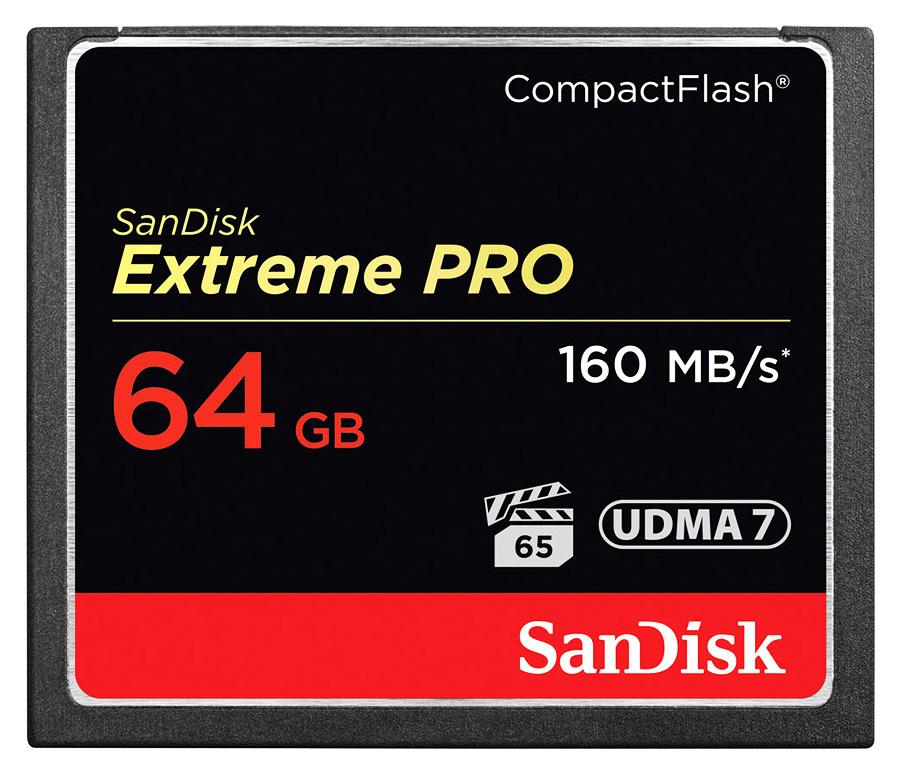 SanDisk CF Extreme PRO 64GB (VPG 65, UDMA 7) - R: 160 MB/s, W: 150 MB/s