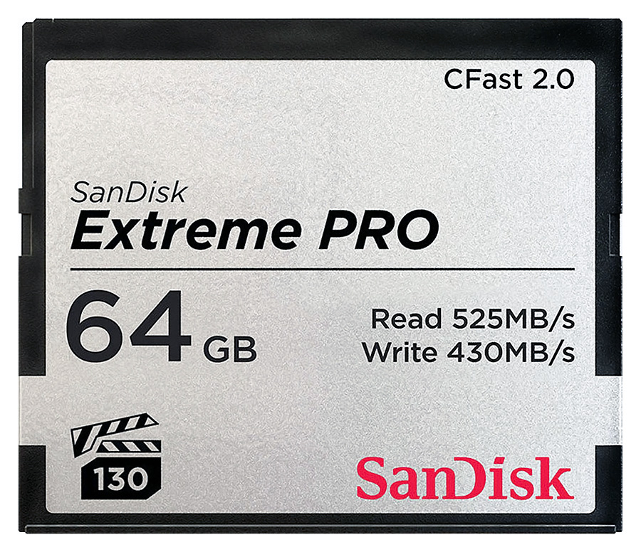 SanDisk CFast 2.0 Extreme PRO 64GB (VPG 130) - R: 525 MB/s, W: 430 MB/s