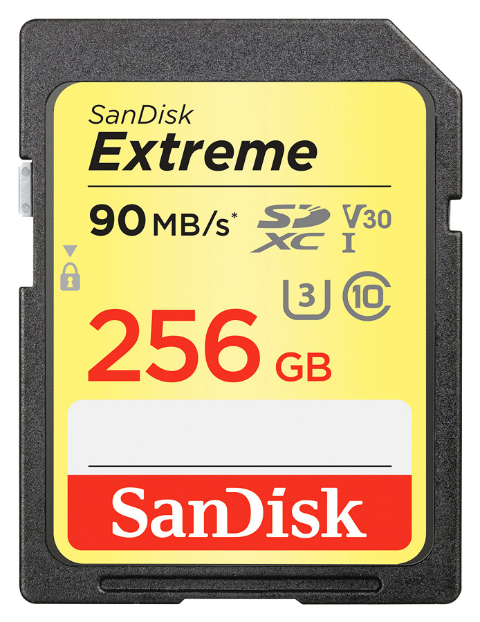 SanDisk SDXC Extreme 256GB Class 10 UHS-I U3 V30 - R: 90MB/s, W: 60MB/s