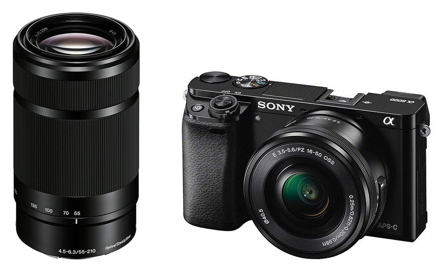 Sony Alpha A6000 + Sony E PZ 16-50mm f/3.5-5.6 OSS + E 55-210mm f/4.5-6.3 OSS, Čierny kit