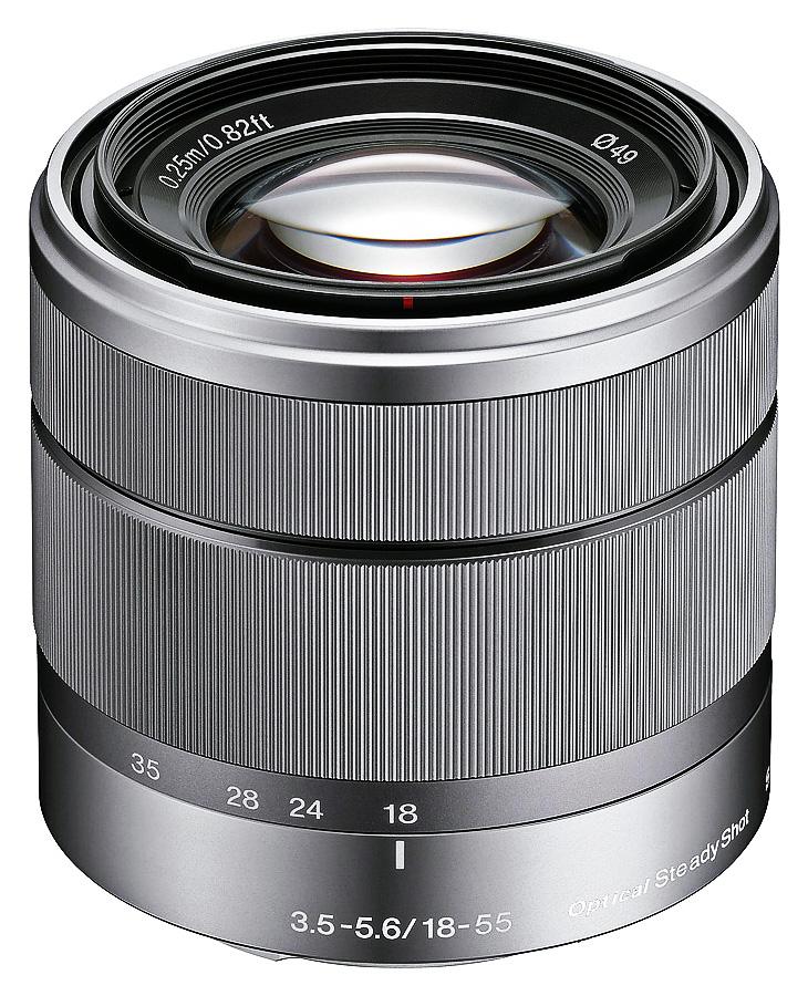 Sony E 18-55mm f/3.5-5.6 OSS (APS-C, E-Mount), Strieborný