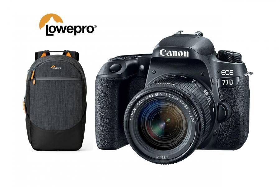 Canon EOS 77D + EF-S 18-55mm f/4-5.6 IS STM + batoh Lowepro zadarmo