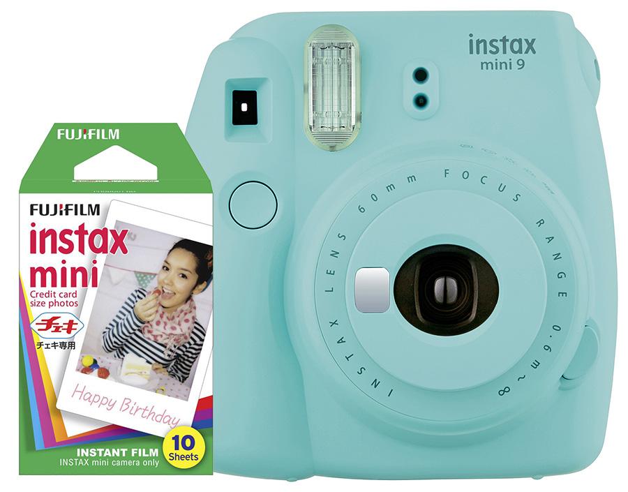 Fujifilm Instax Mini 9, ľadovo modrý + 10 fotografií + puzdro