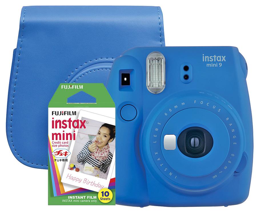 Fujifilm Instax Mini 9, modrý + 10 fotografií + puzdro